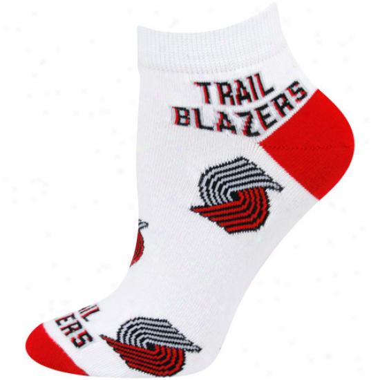 Portland Track Blazers Ladies White All Over Team Logo Ankle Soocks
