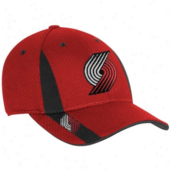 Portland Trail Blazera Merchandise: Adidas Portland Trail Blazers Red Swingman Flex Fit Hat