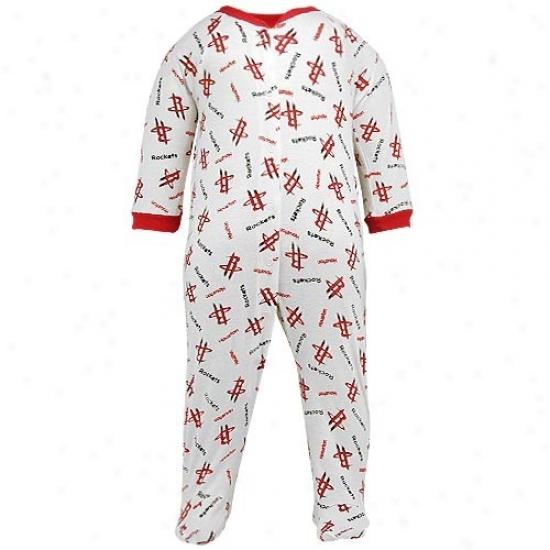 Reebok Houstno Rockets White All Over Logo Print Newborn Footed Sleeper