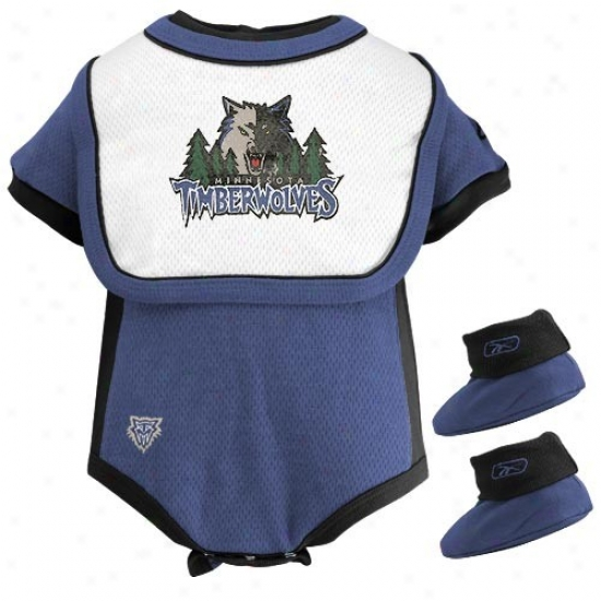 Reebok Minnesota Timberwolves Blue Infant 3-piece Mesh Creeper Set