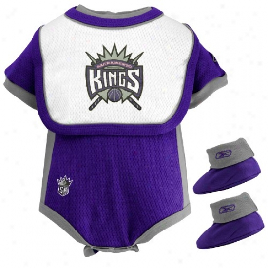 Reebok Sacramento Kings Infant Purple 3-piece Mesh Creeper Set