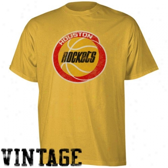 Rockets Attire: Adidas Rockets Gold Retro Logo Rate above par T-shirt