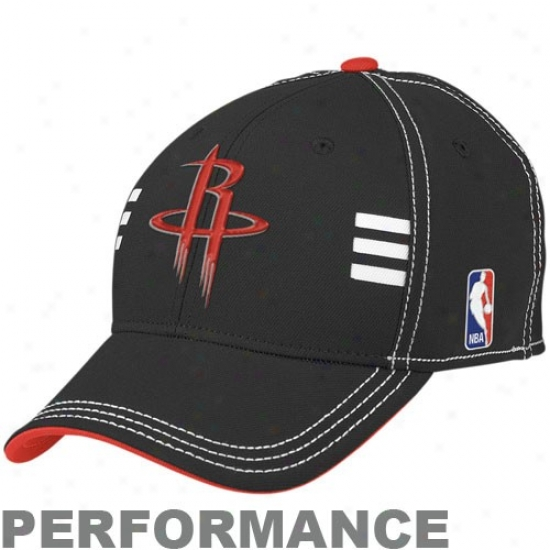 Rockets Caps : Adidas Rockets Black Official Draft Day Performance Stretch Fit Caps