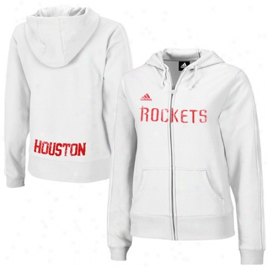 Rofkets Swweat Shirt : Adidas Rockets Ladies White Tail End Full Zip Sweat Shirt
