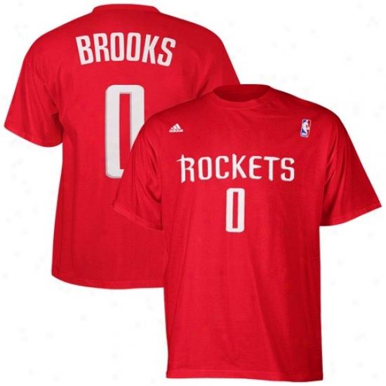 Rockets Tee : Adidas Rocke5s #0 Aaron Brooks Red Player Tee