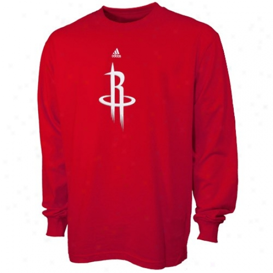 Rockets Tshirt : Adidas Rockets Youth Red Primary Logo Long Sleeve Tshirt