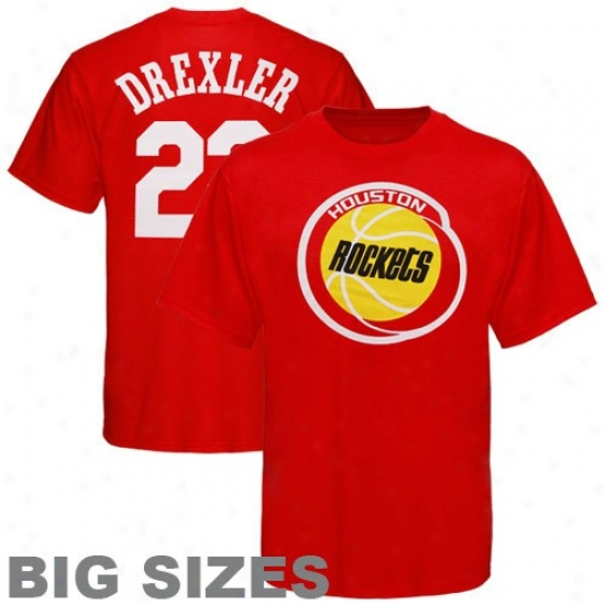 Rockets Tzhirt : Majestic Rockets #22 Clyde Drexler Red Retired Player Throwback Big Sizes Tshirt
