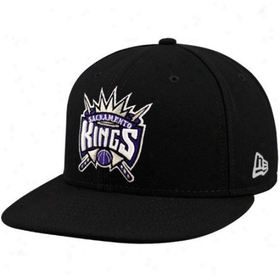 Sacramento King Caps : New Era Sacramento King Black 59ifty Primary Logo Flat Brim Fitted Caps