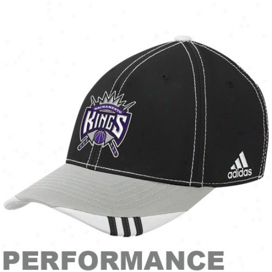 Sacramento King Gear: Adidas Sacramento King Black-gray Official On Court Performance Flex Fiy Hat