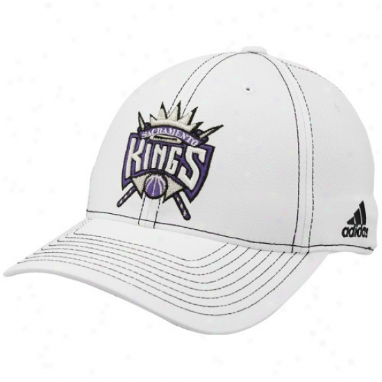Sacramento King Gear: Adidas Sacramento King White Team Logo Structured Flex-fit Hat