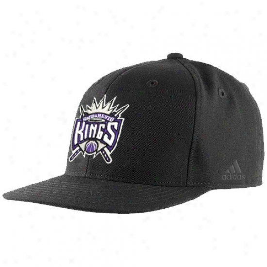 Sacramento King Hat : Adidas Sacramento Sovereign Black Bank Shot Fitted Hat