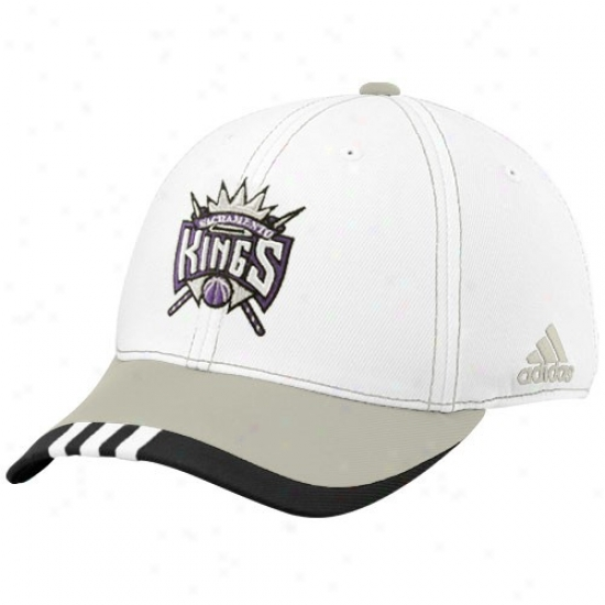Sacramento King Merchandise: Adidas Sacramento King White On Court Flex Fit Hat