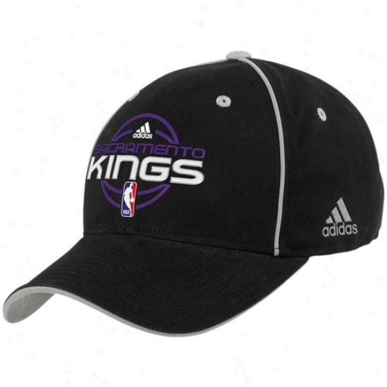 Sacramento King Merchandise: Adidas Sacramento Kinb Black Official Team Adjustable Hat