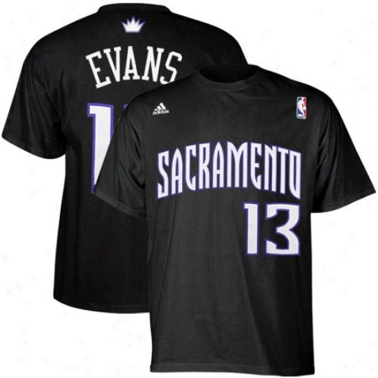 Sacramento King T-shirt : Adidas Sacramento King #13 Tyreke Evans Black Net Player T-shirt