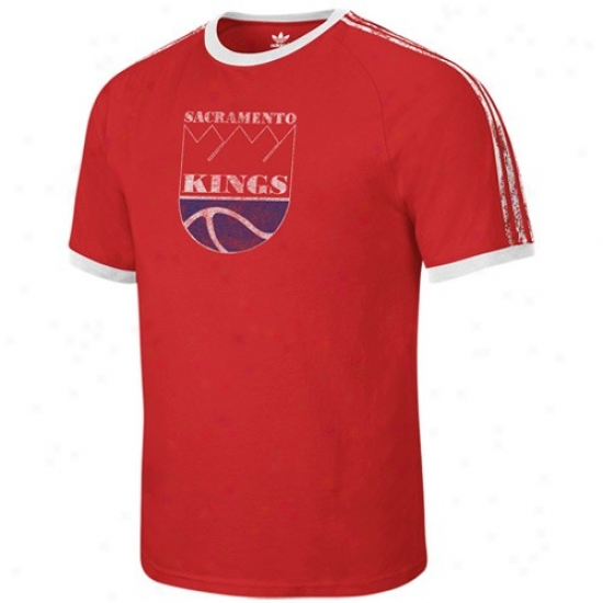 Sacramento King T Shirt : Adidas Sacramento King Red Distressed Throwback Logo Ringer T Shirt