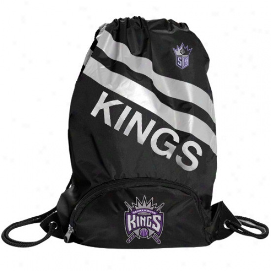 Sacrament0 Kings Black Backsack With Front Pocket