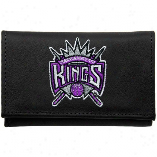 Sacramento Kings Black Leather Embroidered Tri-fold Wallet
