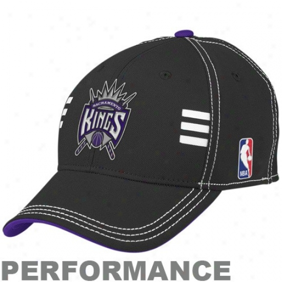 Sacramento Kings Hats : Adidas Sacramento Kings Black Official Draft Day Performance Stretch Fit Hats