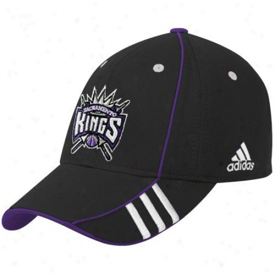 Sacramento Kings Hats : Adidas Sacramento Kings Black Official Teaj Adjustable Hats