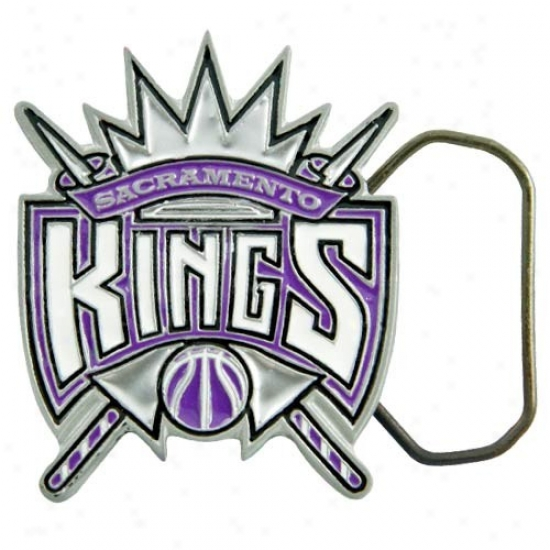 Sacramento King Pewter Team Logo Belt Buckle