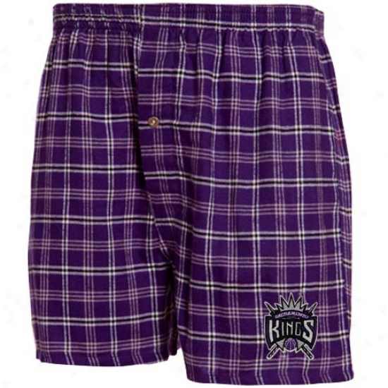 Sacramento Kings Purple Plaid Tailgate Boxer Shorts
