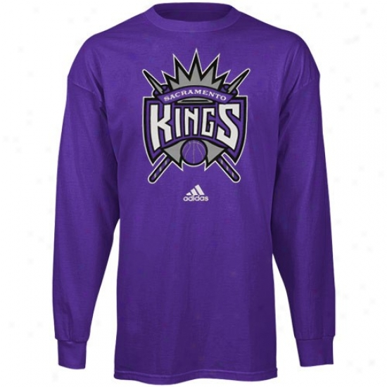 Sacramento Kings Shirts : Adidas Sacramento Kings Youth Purple Primary Logo Long Sleeve Shirte