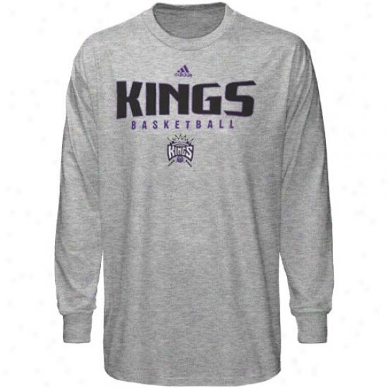Sacramento Kings Shirts : Adidas Sacramento Kings Ash Absolute Long Sleeve Shirts