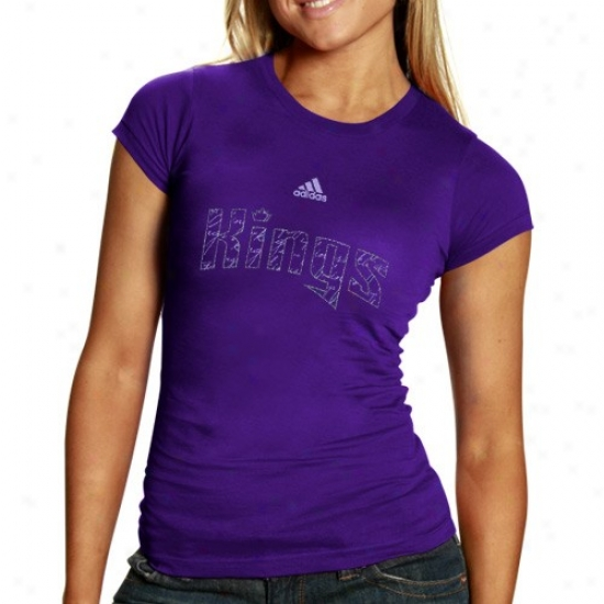 Sacramento Kongs Tees : Adidas Sacramento Kings Ladies Purple Inner Thoughts Silky Smooth Tees
