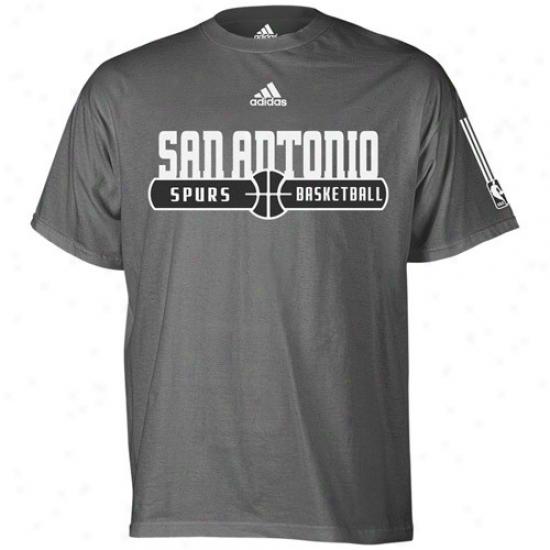 San Antonio Spur Apparel: Adidas San Antonio Spur Ash Ball Horizon T-shirt