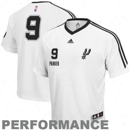 San Antonio Spur Apparel: Adidas San Antonio Spur #9 Tony Parker White On Court Shooting Performance T-shirt