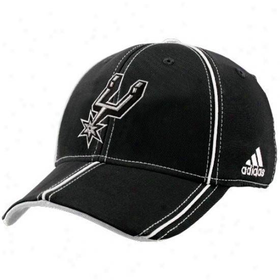 Sah Antonio Spuur Caps : Adidas San Antonio Spur Black Structured Trimmed Flex Fit Caps