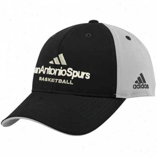 San Antonio Spur G3ar: Adidas San Antnio Spur Black-silver Multi Team Color Structured Hat