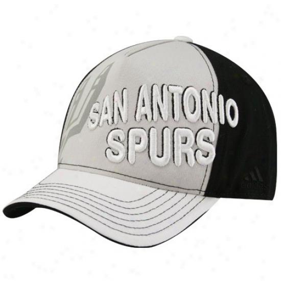San Antonio Spur Hats : Adidas San Antonio Spu Youth Gray-bkack Color Block Adjustable Hats