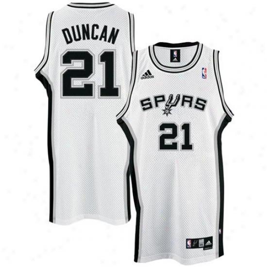 San Antonio Ergot Jersey : Adidas San Antonio Spur #21 Tim Duncan White Home Swingman Basketball Jersey