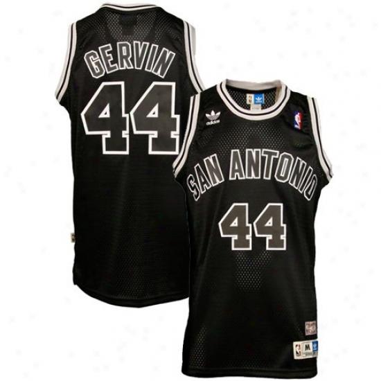 San Antonio Spur Jerseys : Adidas San Antonio Spur #44 George Gervin Black Hardwood Classic Swingman Basketball Jeraeys