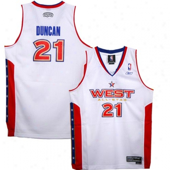 San Antonio Spur Jerseys : Reebok San Antonio Spur #21 Tim Duncan White West 20005 All-star Swingman Jerseys