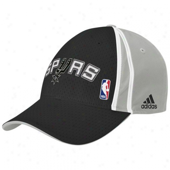 San Antonio Spur Merchandise: Adidas San Antonio Spur Black Swingman Team Road Flex Fit Hat
