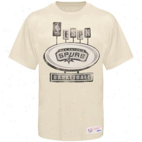 San Antonio Spur Shirts : Sportiqe-espn San Antonio Spur Cream Pancakes Distressed Premium Shirts