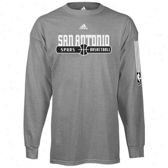 San Antonio Branch T-shirt : Adidas San Antonio Spur Dark Ash Ball Horizon Lomg Sleeve T-shirt