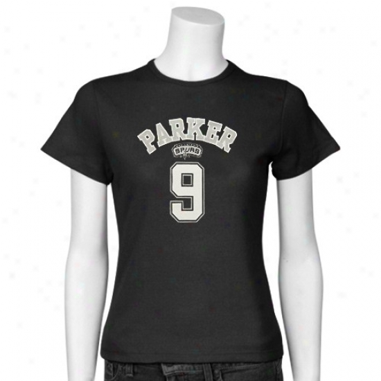 San Antonio Spur Tee : San Antonio Spur Ladies Black #9 Tony Parier Slim Player Tee