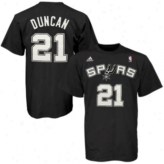 San Antonio Spur Tshirt : Adidas San Antonio Spur #21 Tim Duncan Black Net Player Tshirt