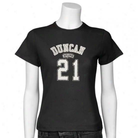San Antonio Spur Tshirt : San Antonio Spur Ladies Black #21 Tim Duncan Slim Player Tshirt