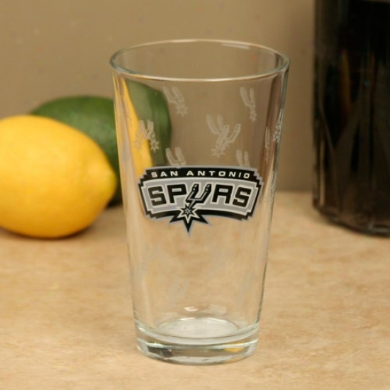 San Antonio Spurs 16oz. Satin Etch Pint Glass
