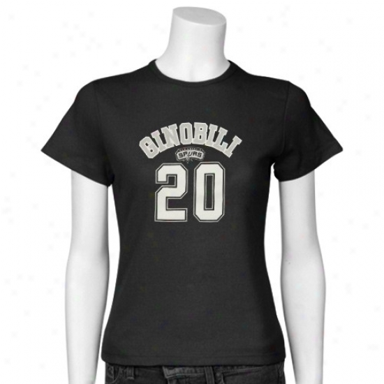 San Antonio Spurs Apparel: San Antonio Spurs Ladies Black #20 Manu Ginobili Slim Player T-shlrt