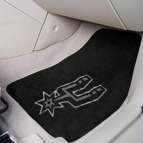San Antonio Spurs Black 2-piece Carpet Car Mat Set