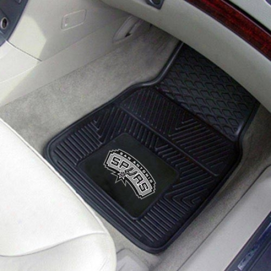 San Antonio Spurs Black 2-piece Vinyl Car Mat Set