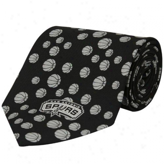 San Antonio Spurs Black Basketball Impression Silk Neck Tie