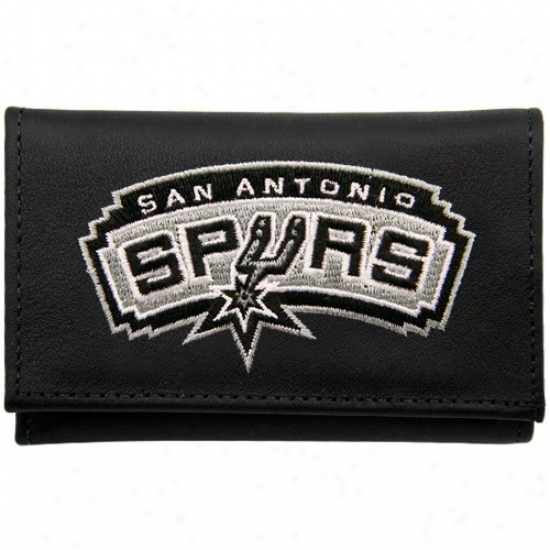 San Antonio Spurs Black Leather Embroidered Trifold Wallet