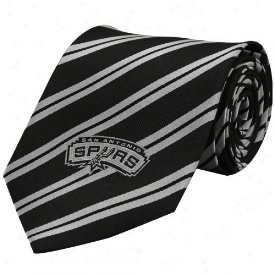 San Antonio Spurs Black Logo Stripe Silk Neck Tie