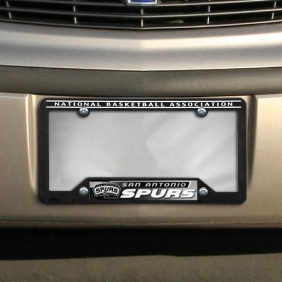 San Antonio Spurs Black Plastic Liense Plate Frame